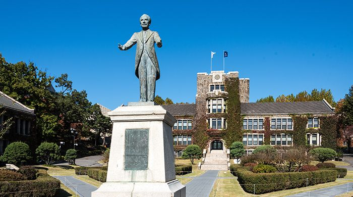 This is the Horace Grant Underwood statue in front of Underwood Hall at Yonsei University, Seoul, South Korea. Underwood is buried at the Yanghwajin Foreign Missionary Cemetery, Seoul, South Korea.