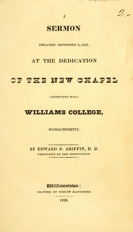 Griffin, Edward Dorr, Sermon Preached September 2, 1828 Title Page.jpg