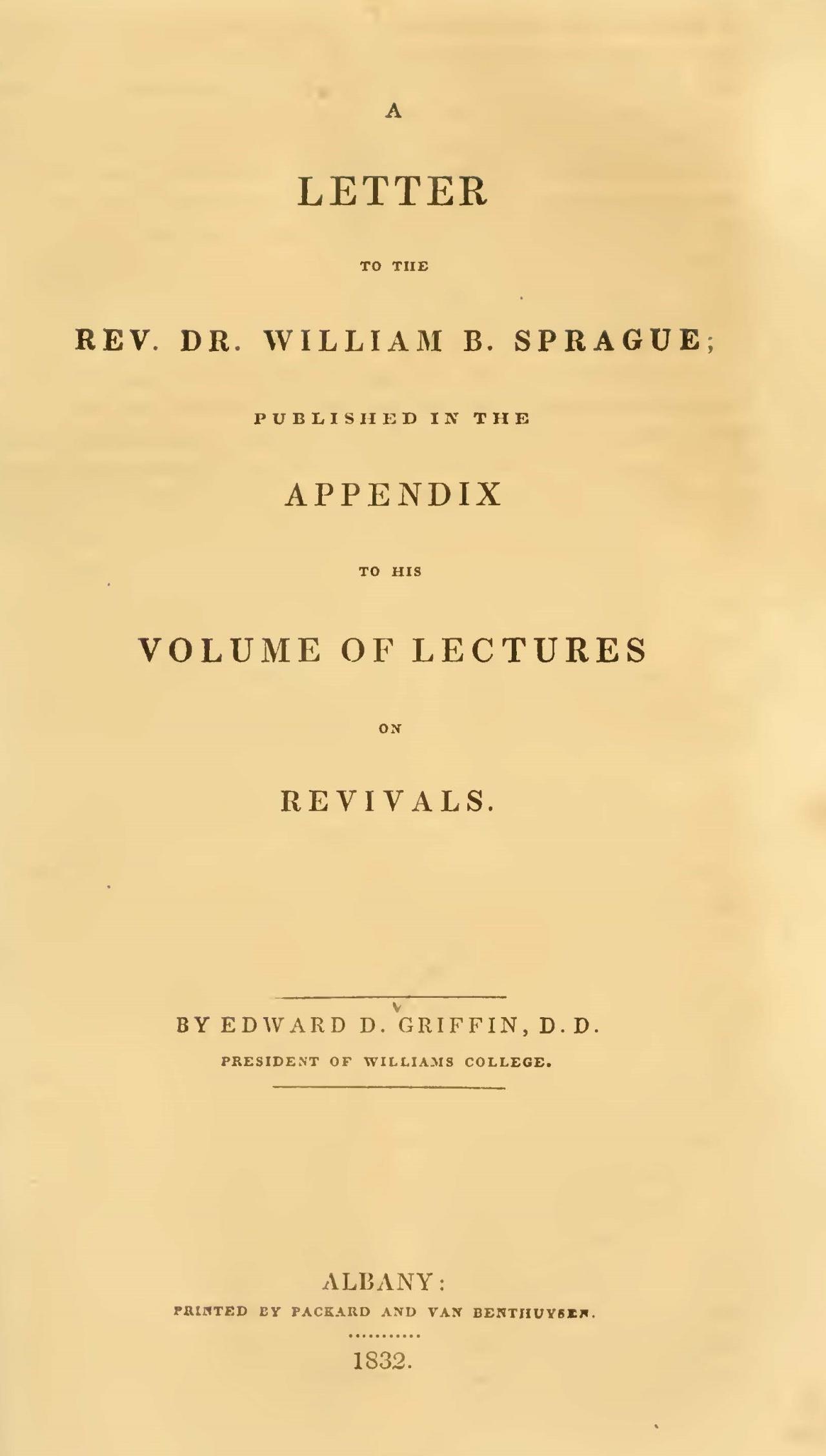 Griffin, Edward Dorr, A Letter to the Rev. Dr. William B. Sprague Title Page.jpg