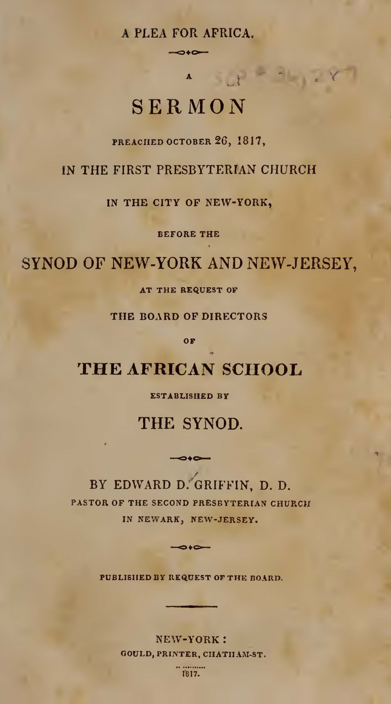 Griffin, Edward Dorr, Plea for Africa Title Page.jpg