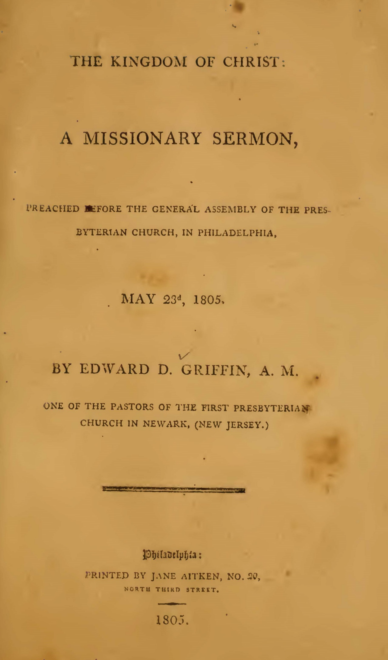 Griffin, Edward Dorr, The Kingdom of Christ A Missionary Sermon Title Page.jpg
