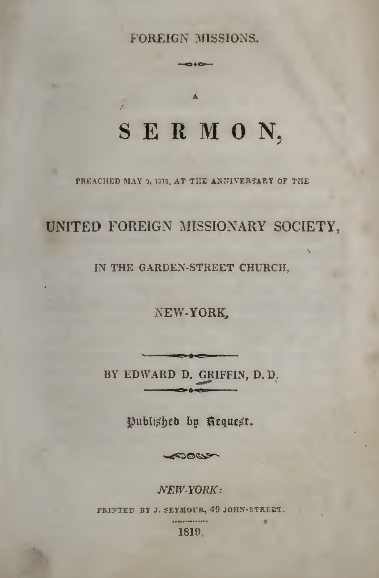 Griffin, Edward Dorr, Foreign Missions A Sermon Title Page.jpg