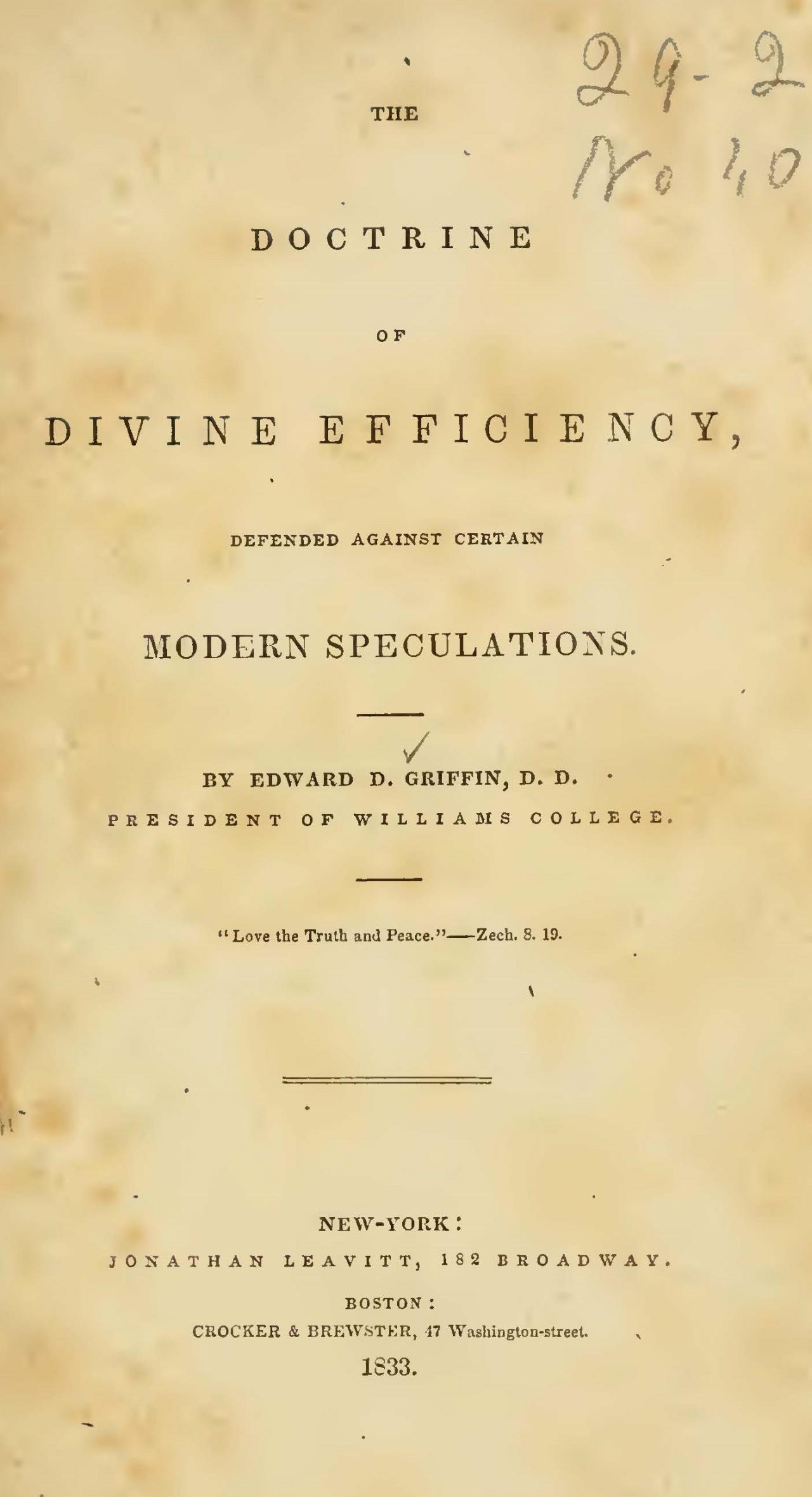 Griffin, Edward Dorr, The Doctrine of Divine Efficiency Title Page.jpg