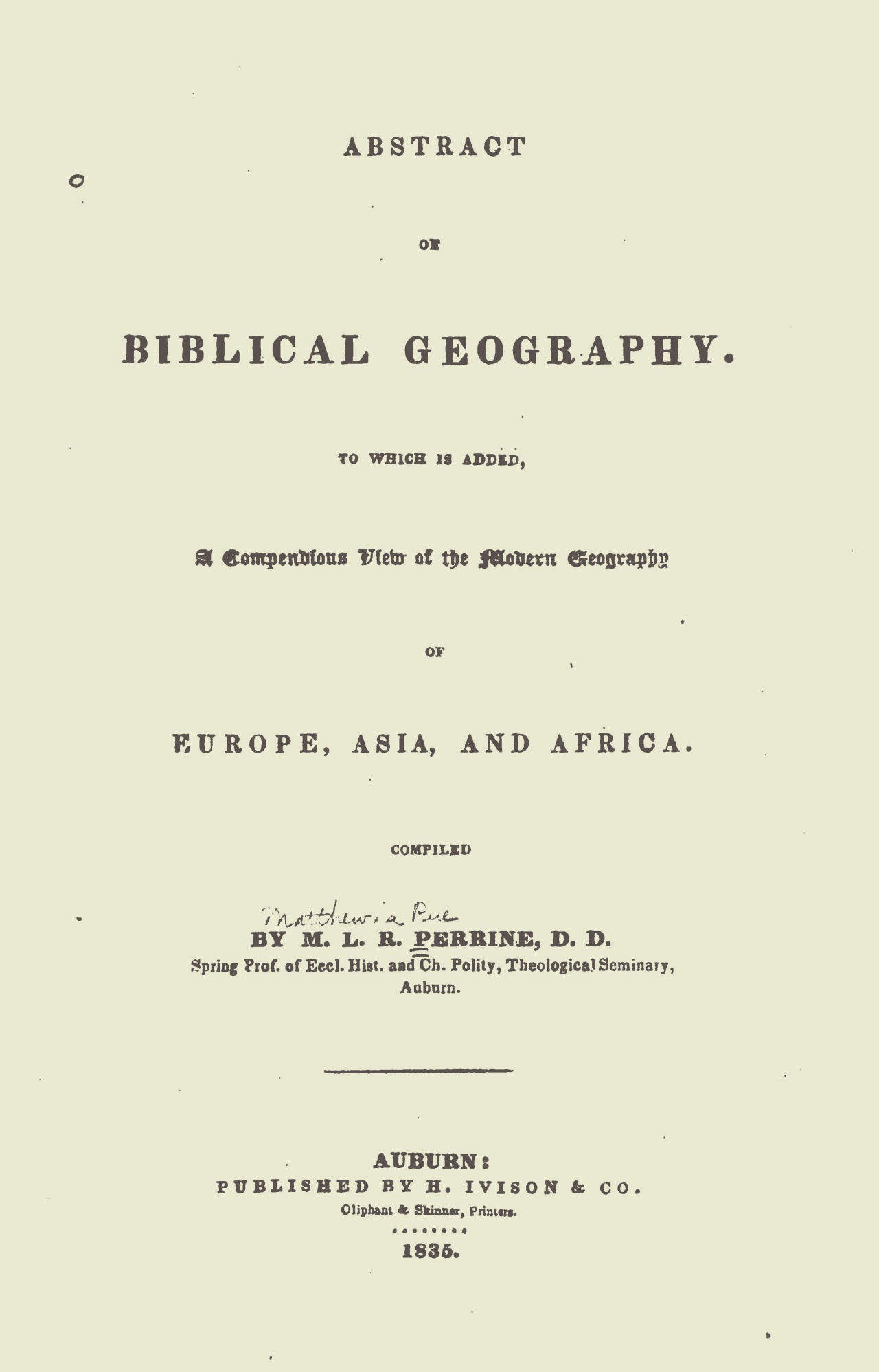 Perrine, Matthew La Rue, Abstract of Biblical Geography Title Page.jpg