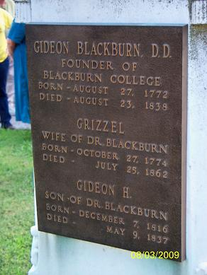 Gideon Blackburn is buried at Carlinville City Cemetery, Carlinville, Illinois.