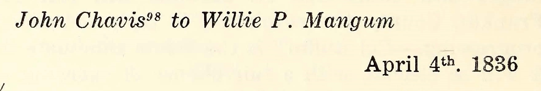 Chavis, John, April 4, 1836 Letter to Willie P. Mangum Title Page.jpg