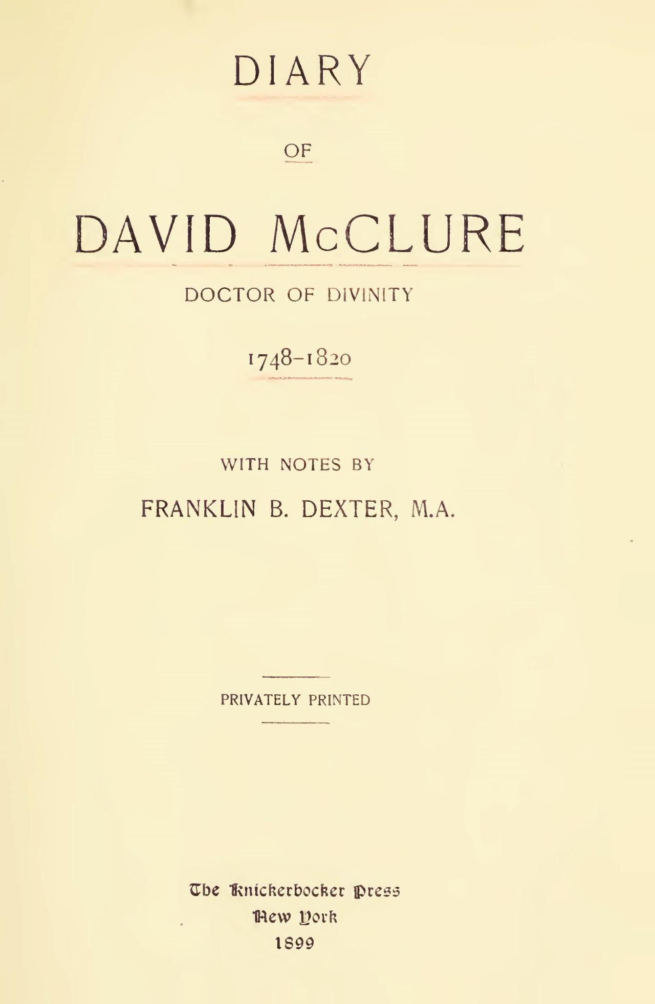 McClure, David, Diary of David McClure Title Page.jpg