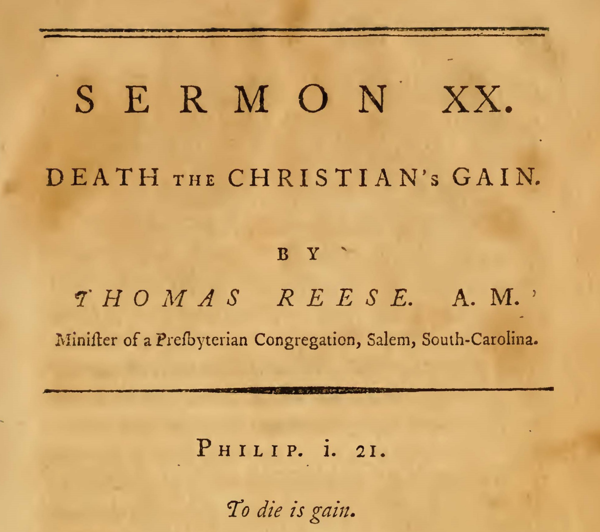 Reese, Thomas, Death the Christian's Gain Title Page.jpg