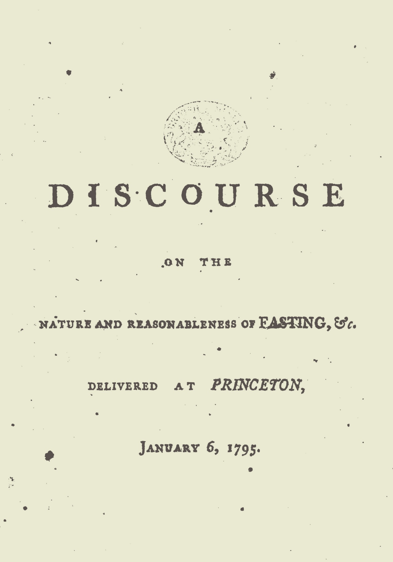 Smith, Samuel Stanhope, A Discourse on the Nature and Reasonableness of Fasting Title Page.jpg