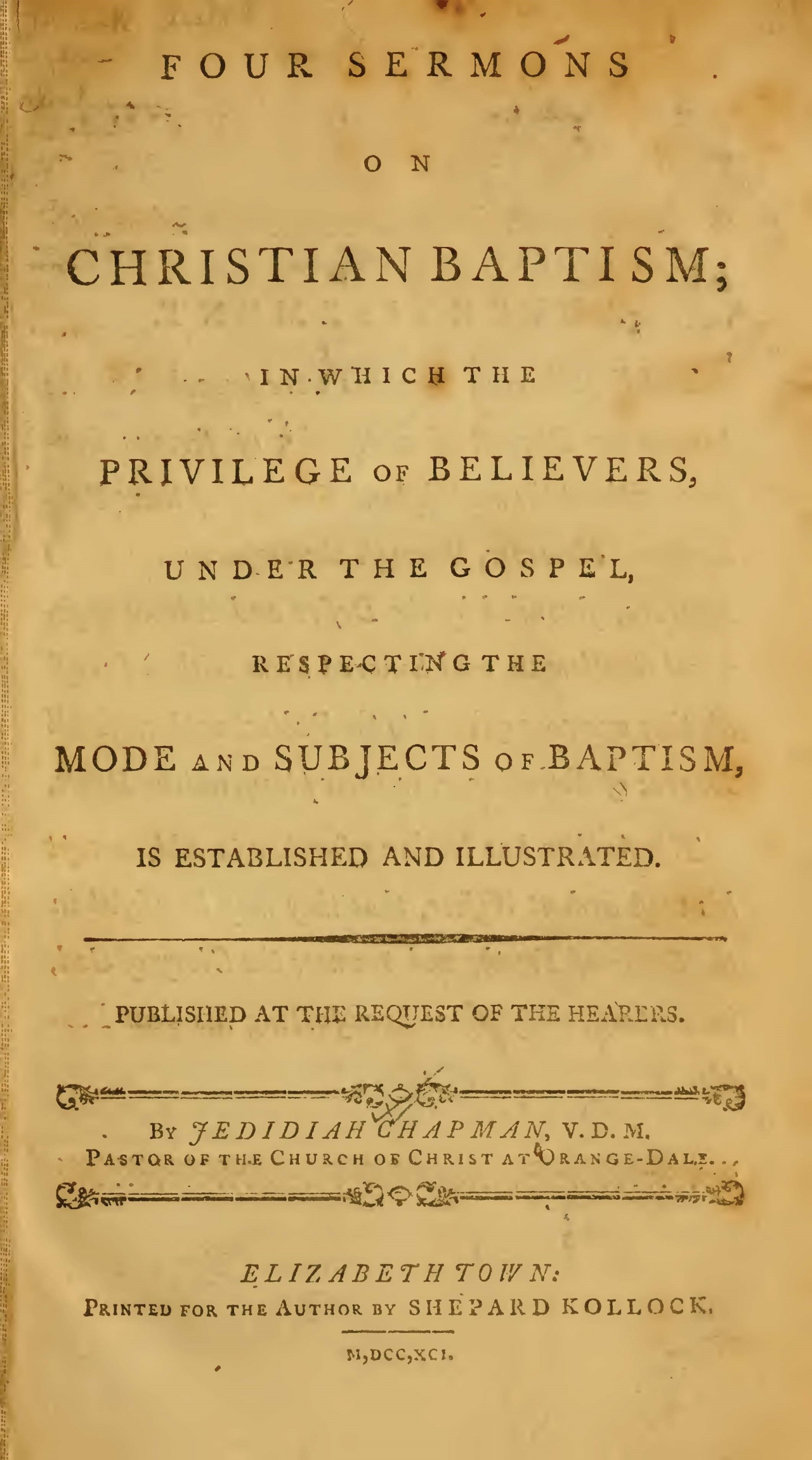 Chapman, Jedediah, Four Sermons on Christian Baptism Title Page.jpg