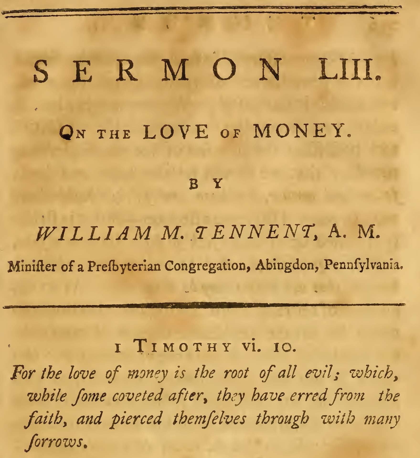 Tennent, William Mackay, On the Love of Money Title Page.jpg