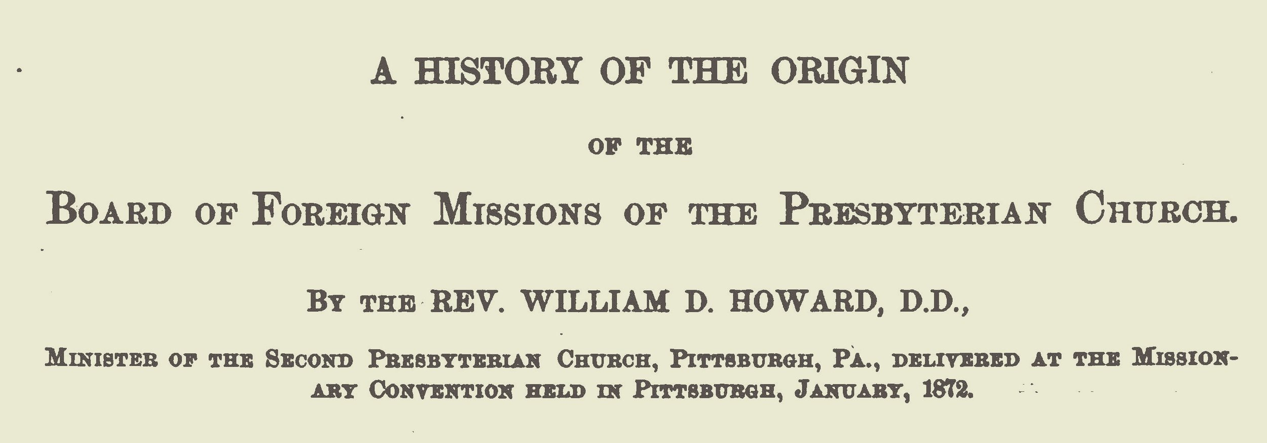 This volume is courtesy of Dr. Wayne Sparkman, Director of the PCA Historical Center.