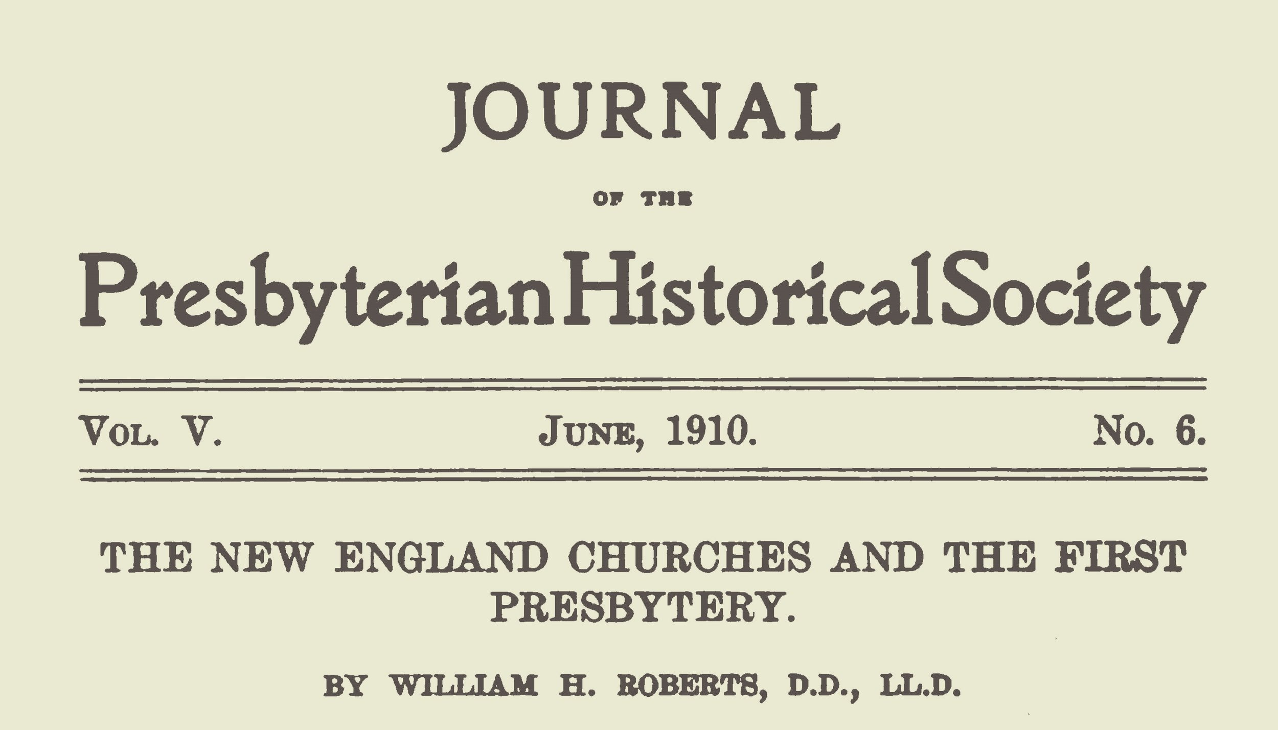 Roberts, William Henry, The New England Churches and the First Presbytery Title Page.jpg