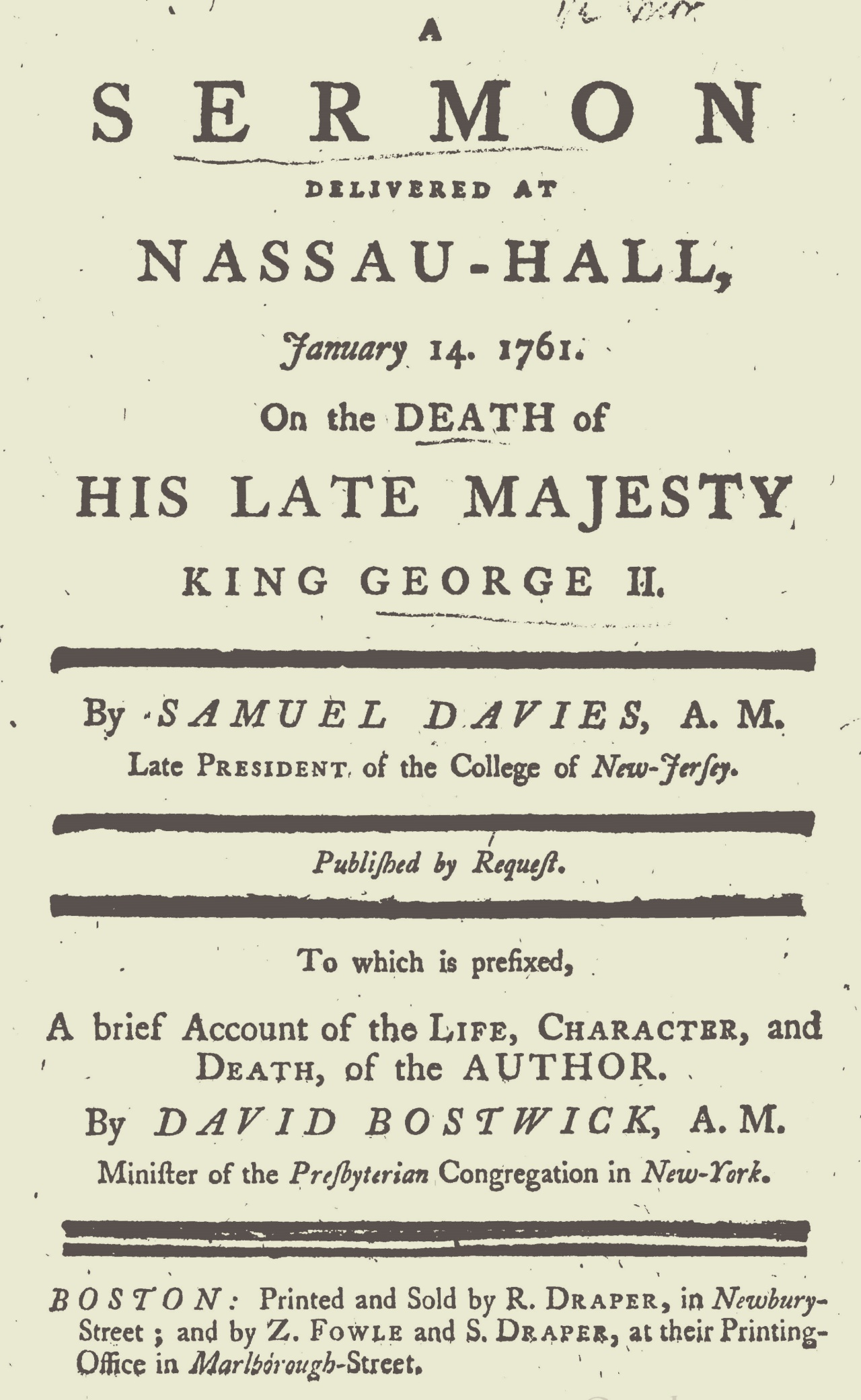 Bostwick, David, An Account of the Life, Character, and Death of President Davies Title Page.jpg