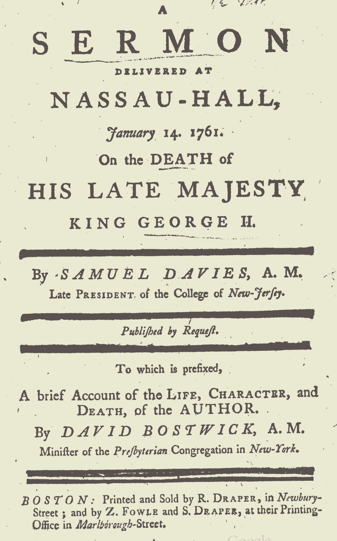 Davies, Samuel, A Sermon Delivered at Nassau-Hall, January 14, 1761 Title Page.jpg