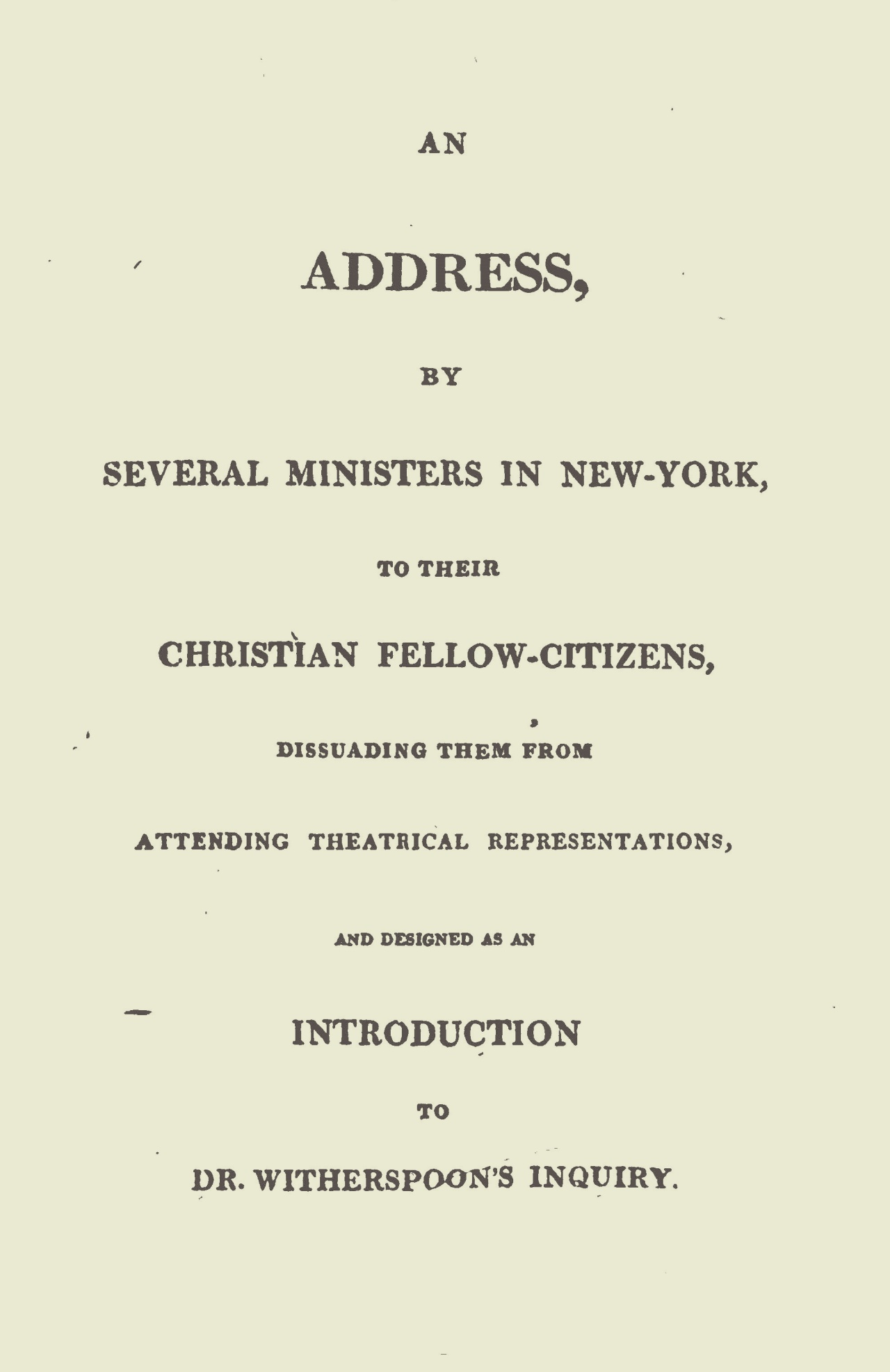 Miller, Samuel, An Address on Theatrical Representations Title Page.jpg