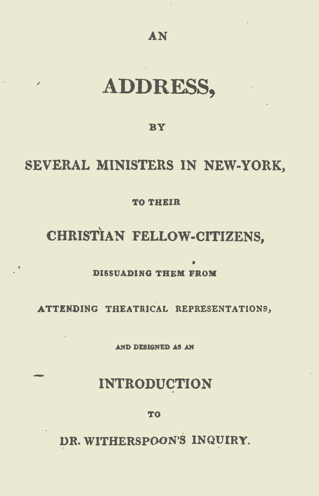 Ely, Ezra Stiles, An Address on Theatrical Representations Title Page.jpg