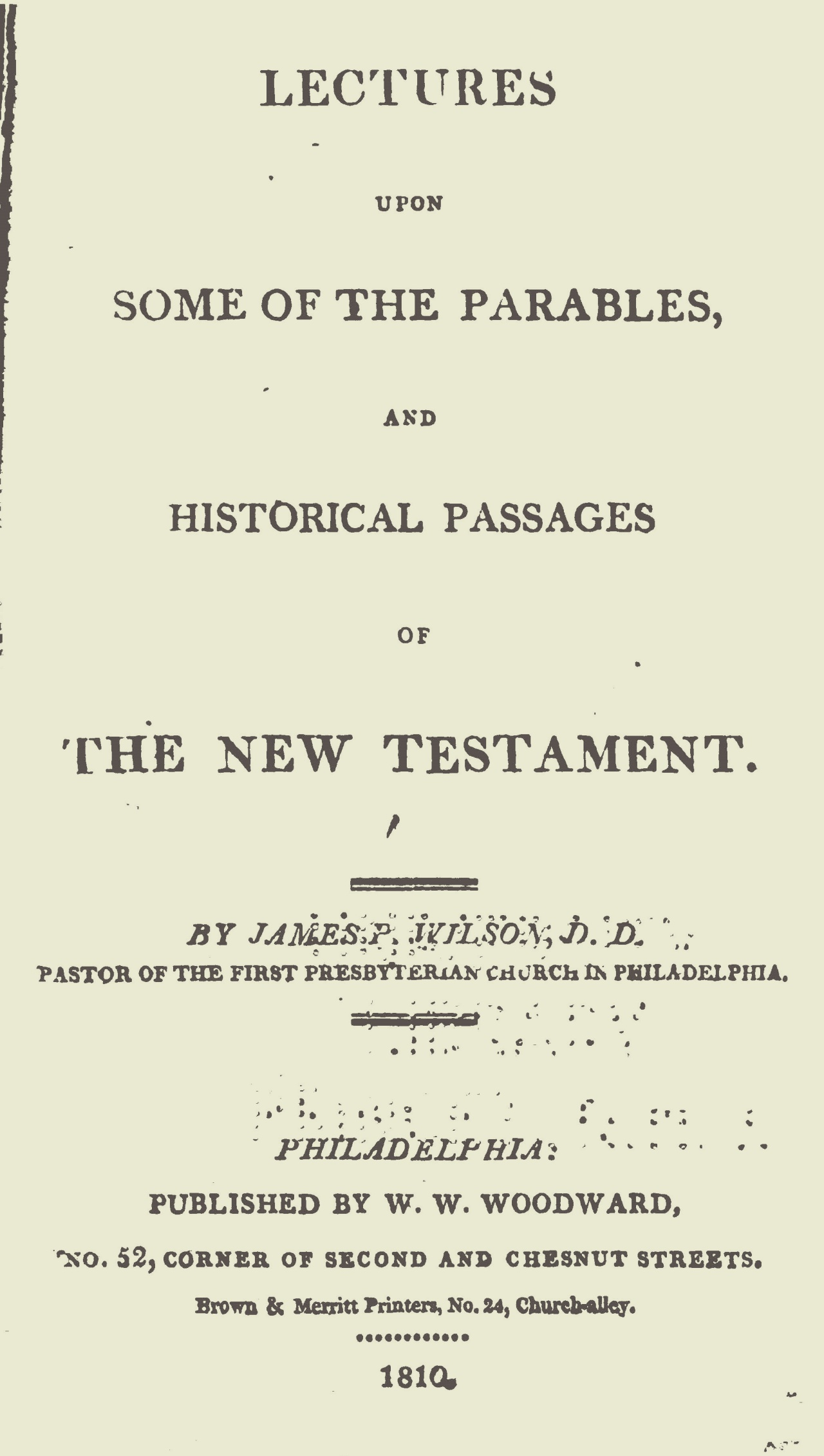Wilson, Sr., James Patriot, Lectures Upon Some of the Parables Title Page.jpg