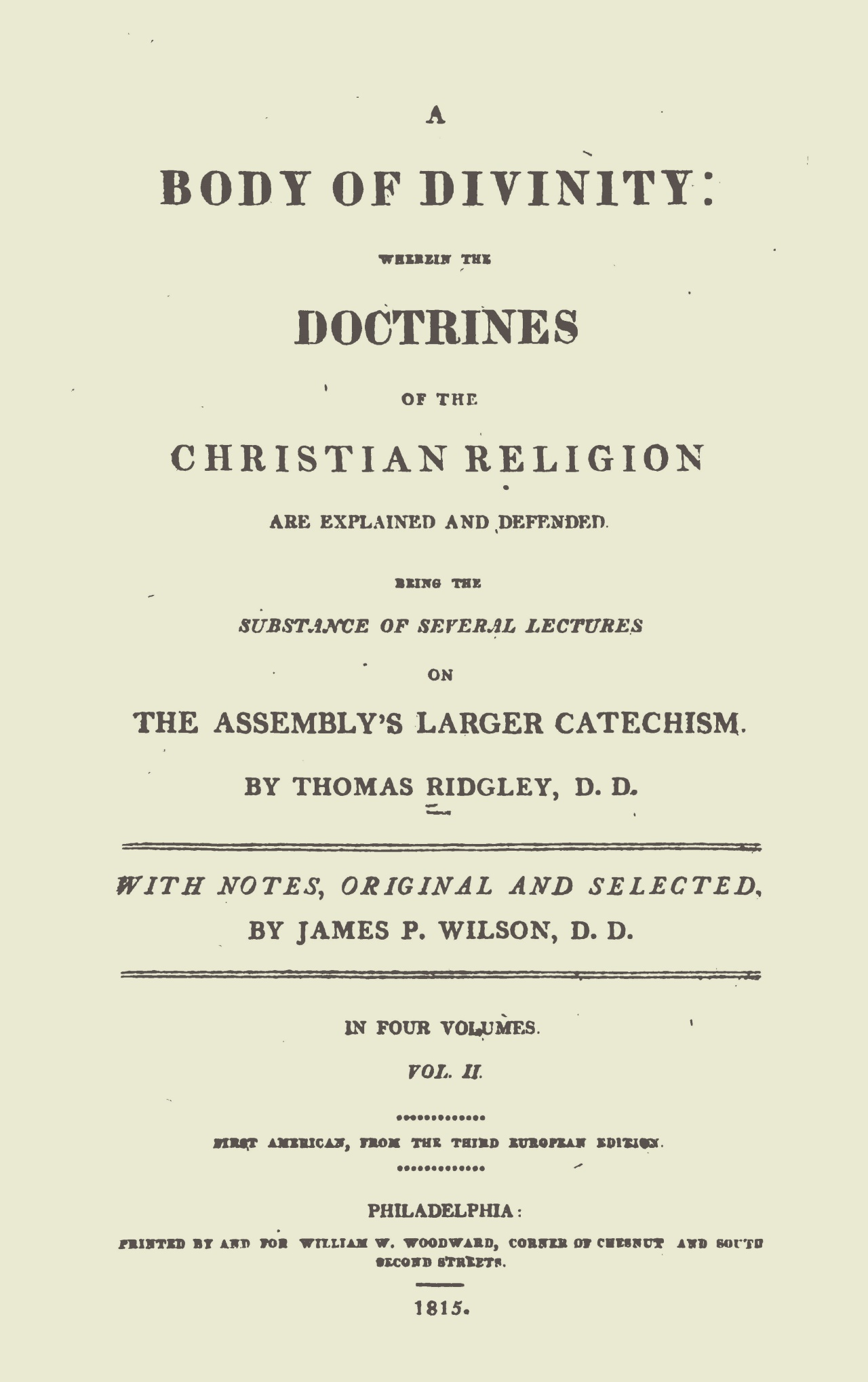 Wilson, Sr., James Patriot, Notes on Ridgley's Body of Divinity, Vol. 2 Title Page.jpg