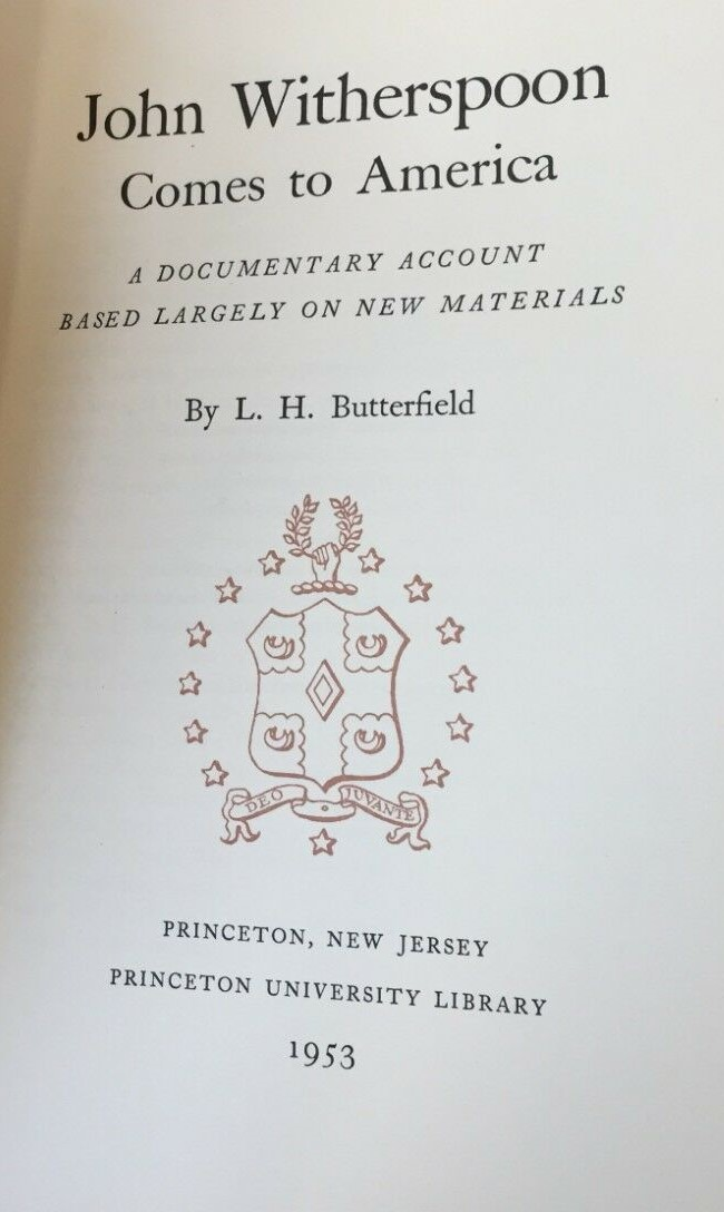 Butterfield, L.H., John Witherspoon Comes to America title page.jpg