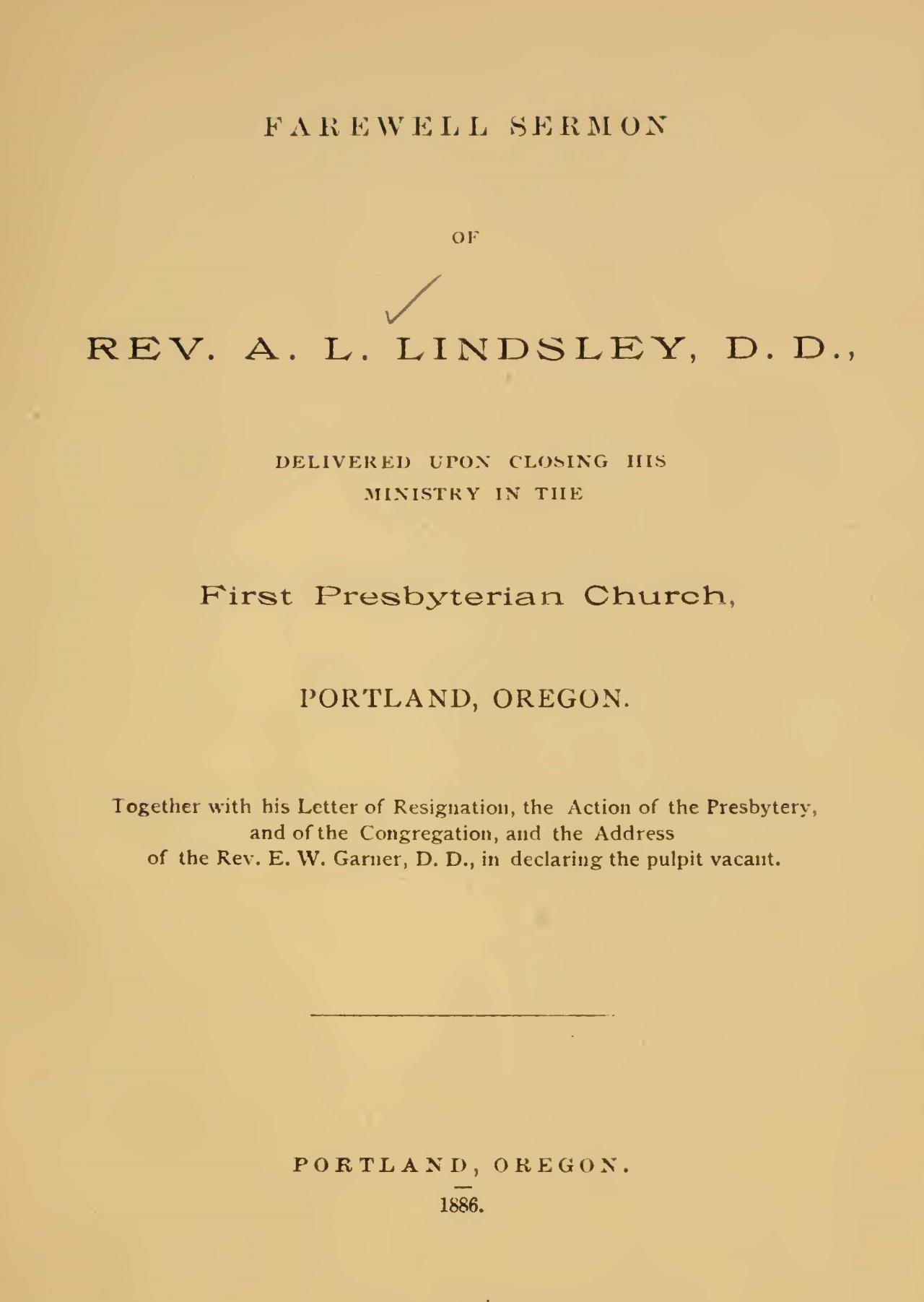 Lindsley, Aaron Ladner, Farewell Sermon Title Page.jpg