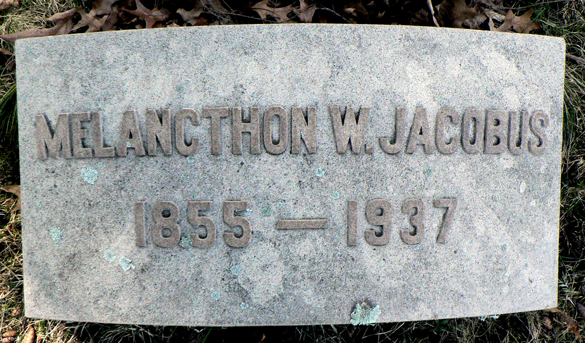 Melancthon Williams Jacobus, Jr. is buried at Cedar Hill Cemetery, Hartford, Connecticut.