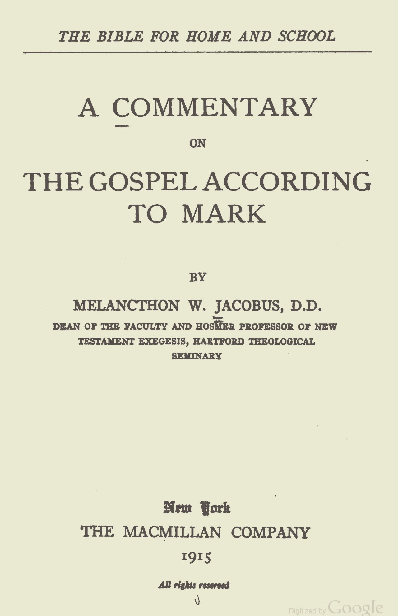 Jacobus, Jr., Melancthon Williams, A Commentary on the Gospel According to Mark Title Page.jpg