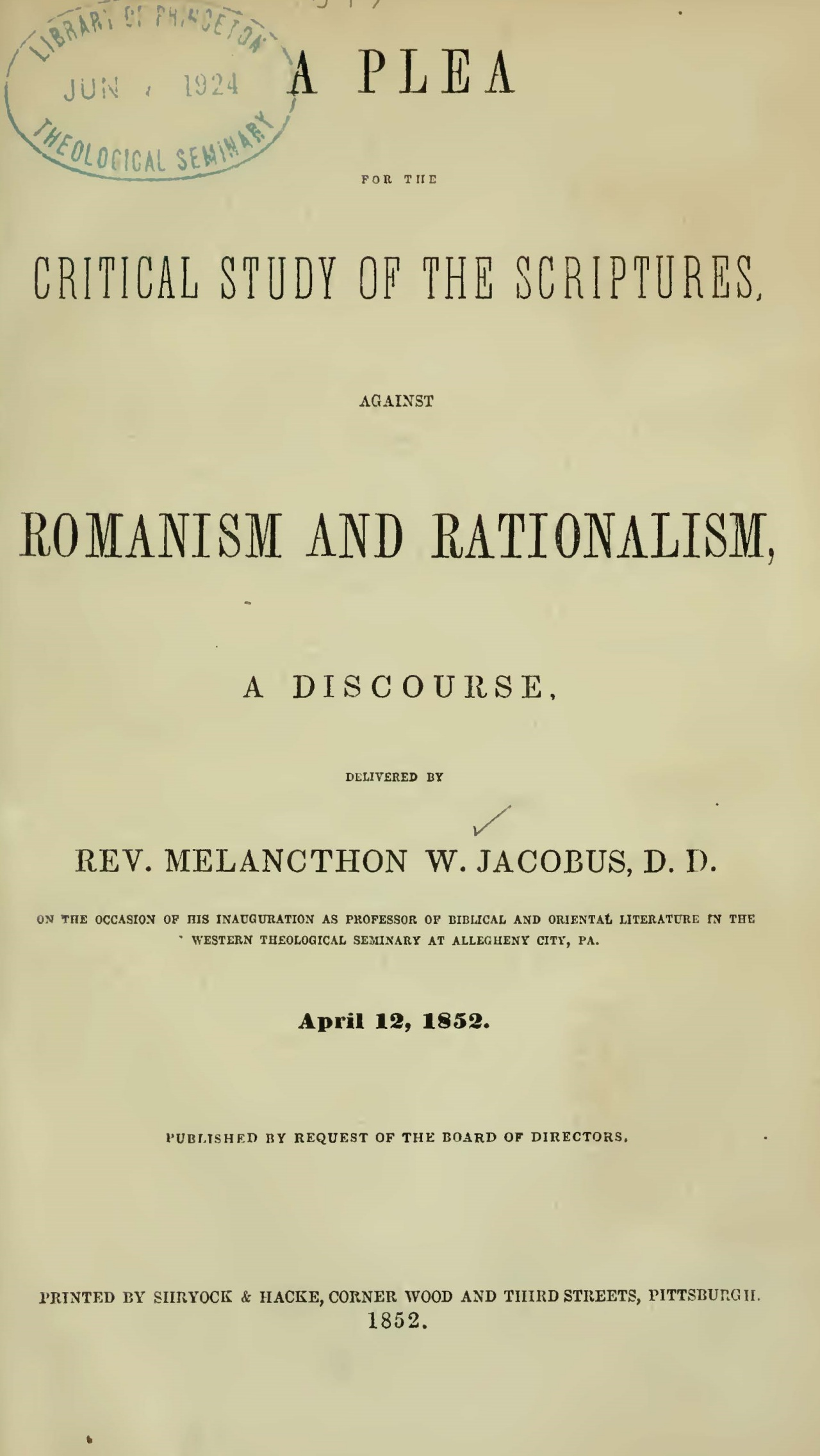 Jacobus, Sr., Melancthon Williams, A Plea for the Critical Study of the Scriptures Title Page.jpg