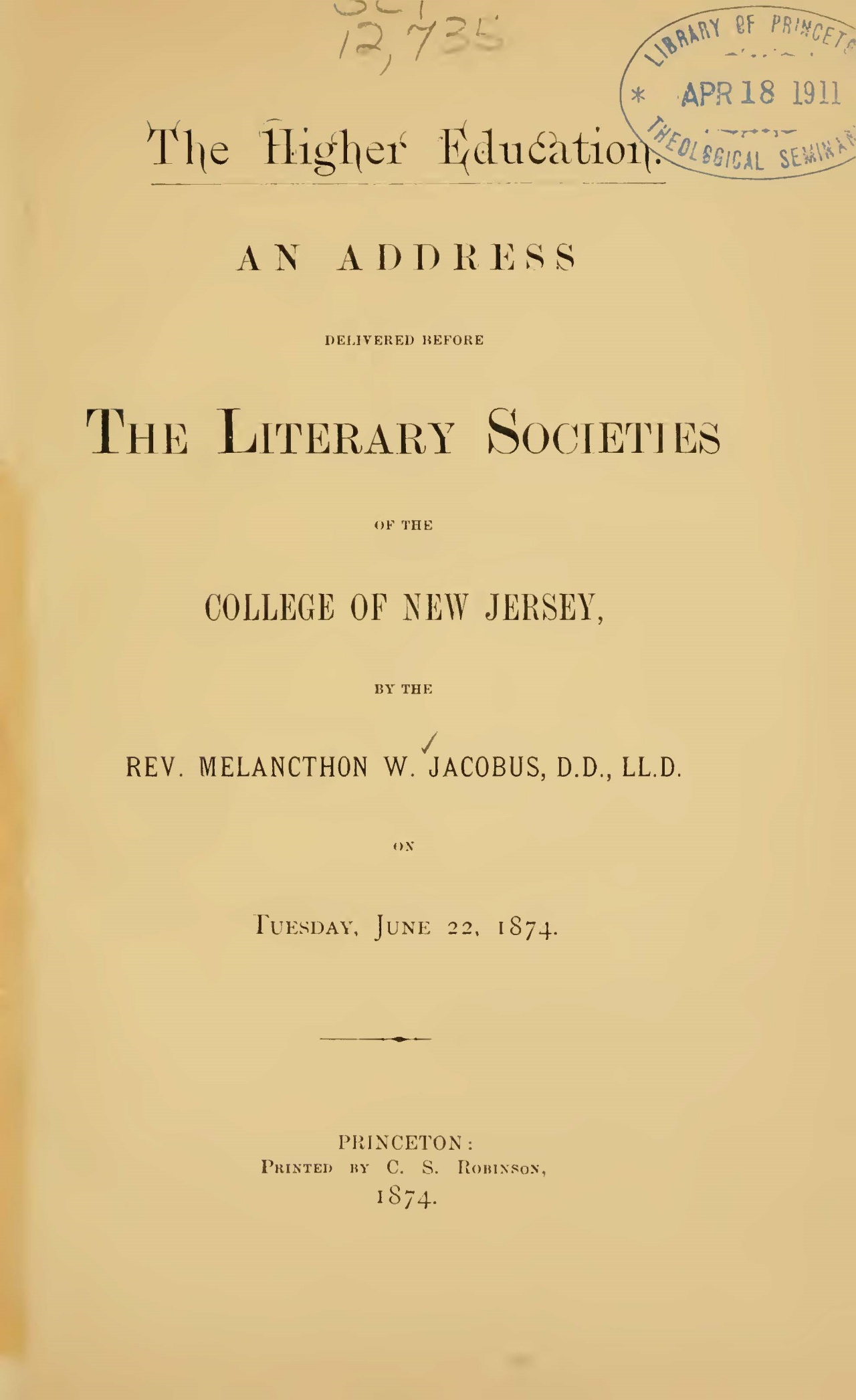 Jacobus, Sr., Melancthon Williams, The Higher Education Title Page.jpg