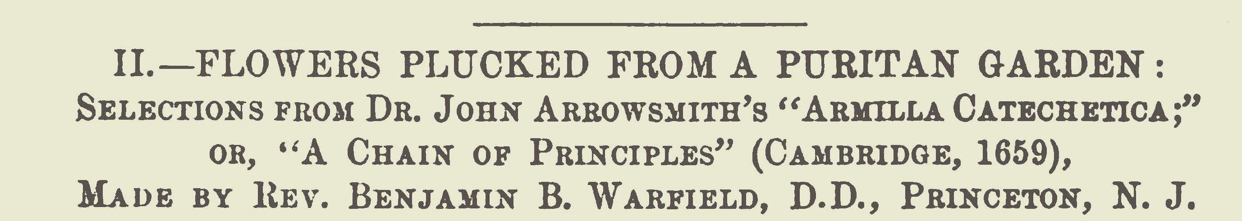 Warfield, Benjamin Breckinridge, Flowers Plucked From a Puritan Garden Title Page.jpg