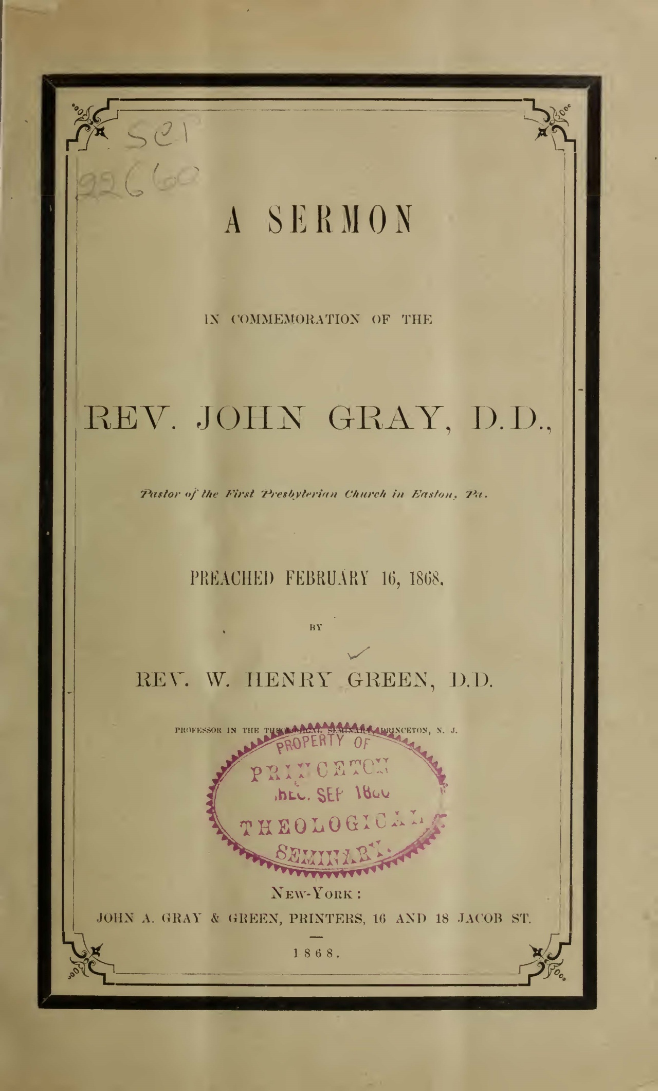 Green, William Henry, A Sermon in Commemoration of the Rev. John Gray Title Page.jpg