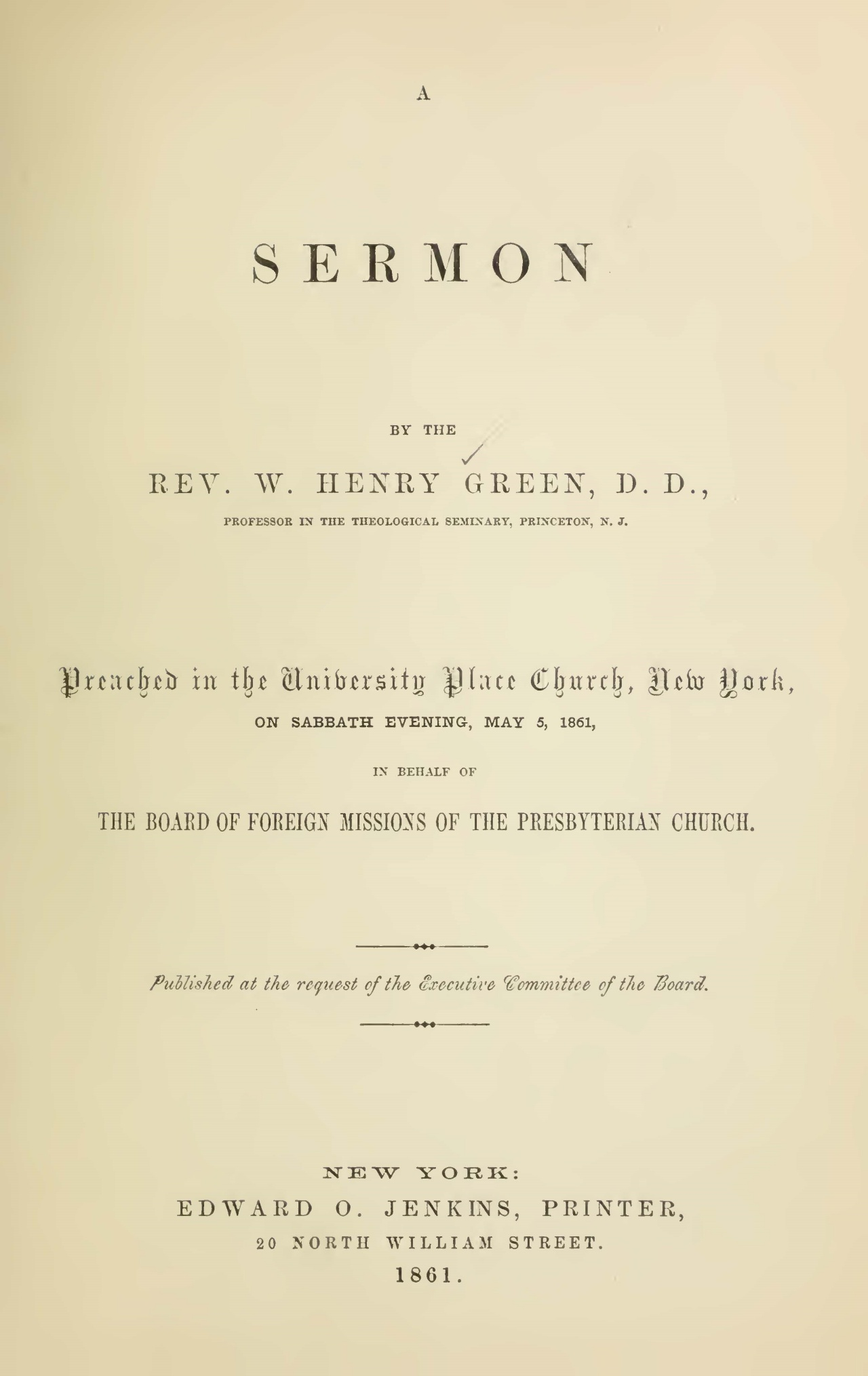 Green, William Henry, A Sermon Preached May 5, 1861 Title Page.jpg