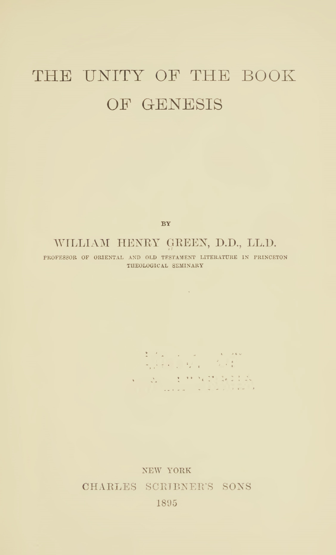 Green, William Henry, The Unity of the Book of Genesis Title Page.jpg