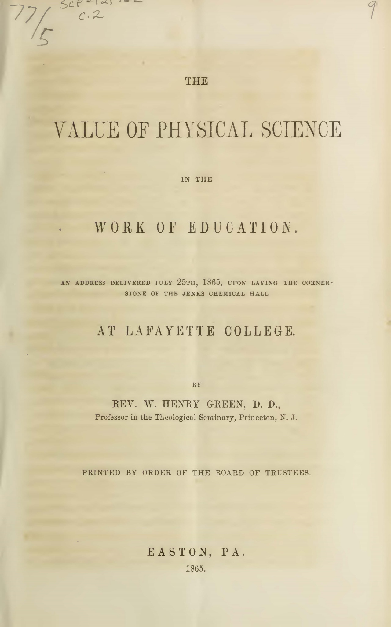 Green, William Henry, The Value of Physical Science in the Work of Education Title Page.jpg
