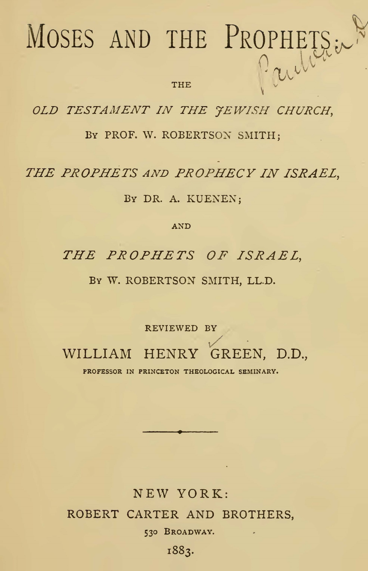 Green, William Henry, Moses and the Prophets Title Page.jpg