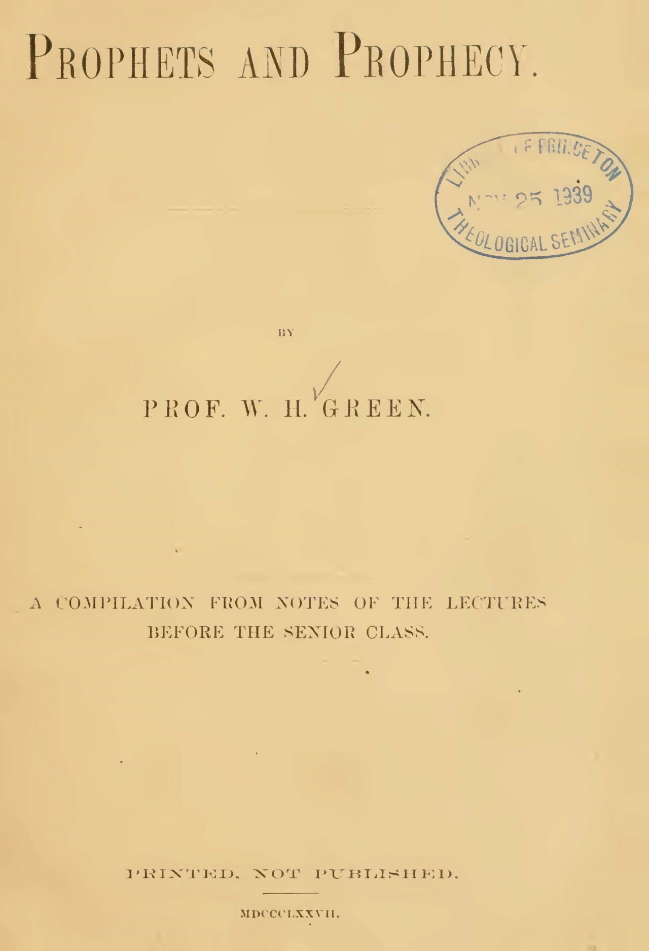 Green, William Henry, Prophets and Prophecy Title Page.jpg