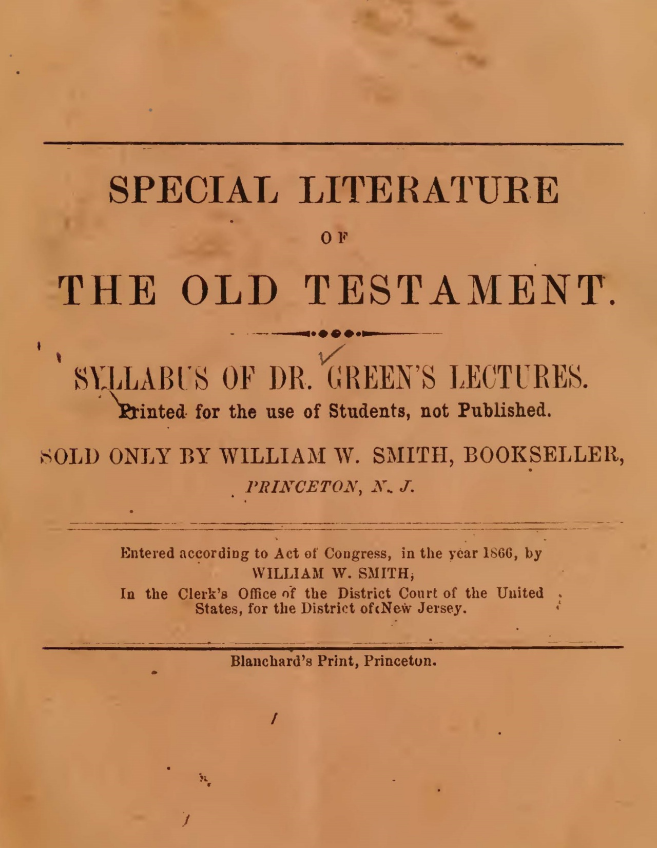 Green, William Henry, Special Literature of the Old Testament Title Page.jpg