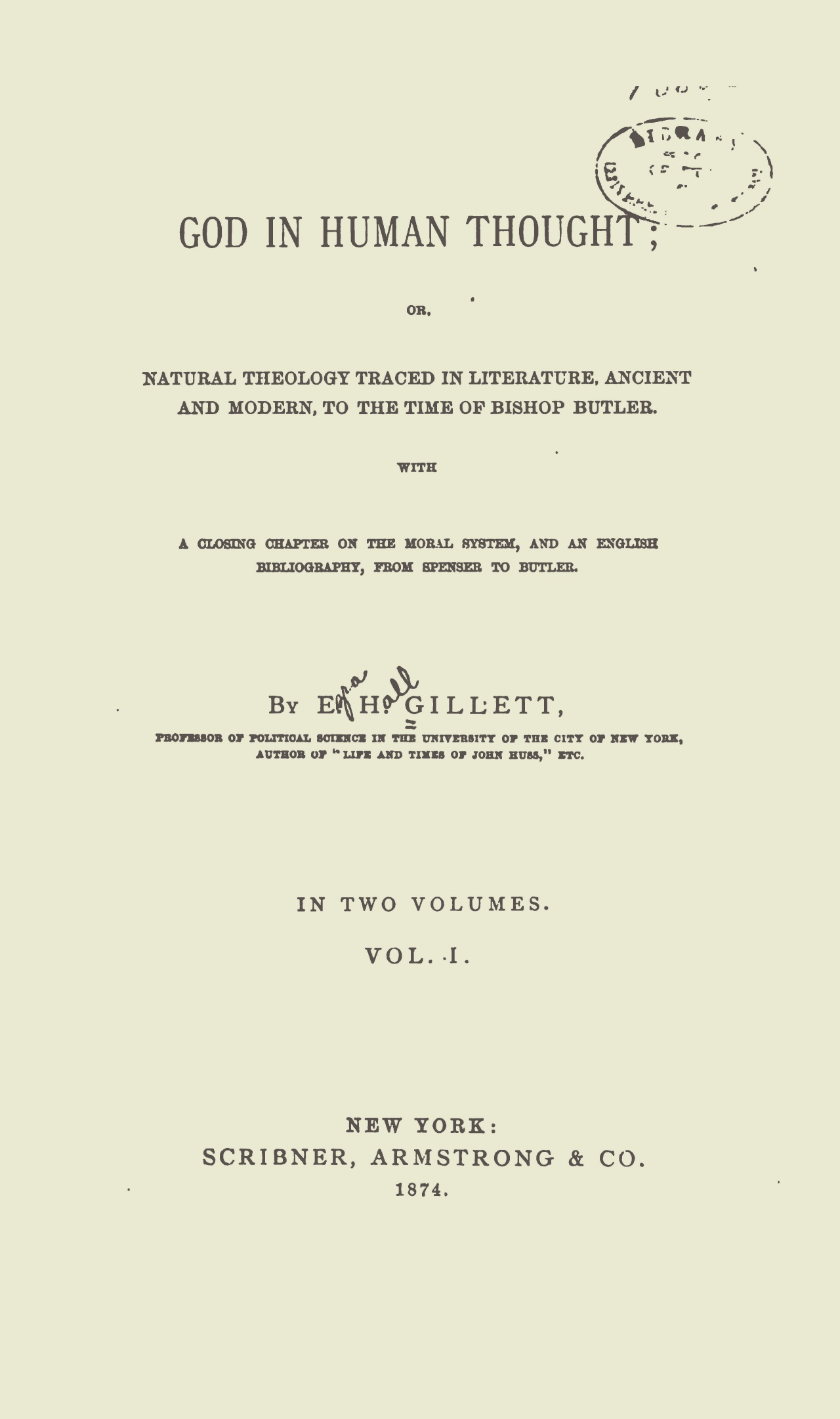 Gillett, Ezra Hall, God in Human Thought Title Page.jpg