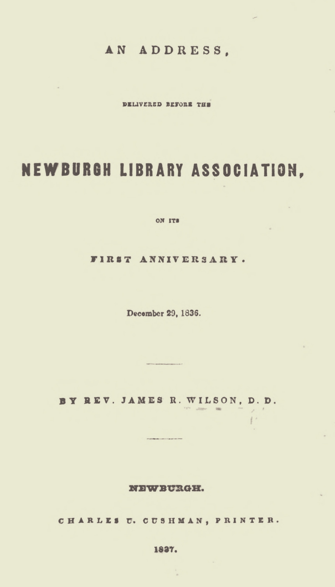 Willson, James Renwick, An Address Delivered Before the Newburgh Library Association Title Page.jpg