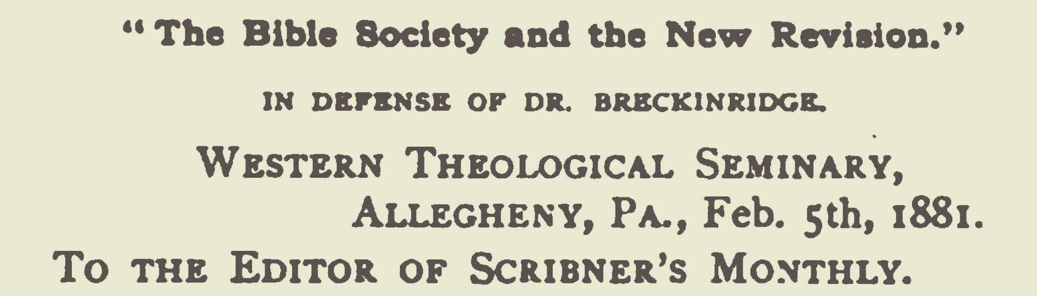 Warfield, Benjamin Breckinridge, In Defense of Dr. Breckinridge Title Page.jpg