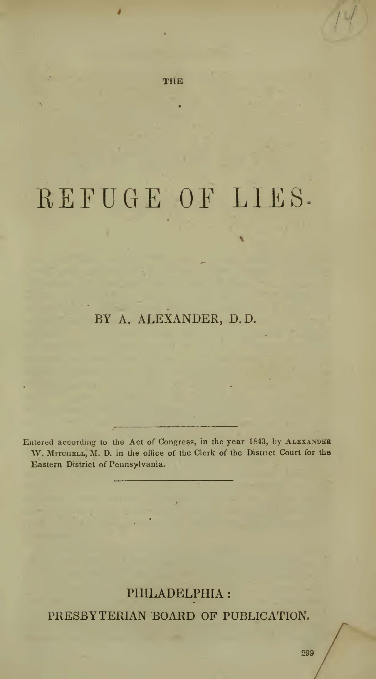Alexander, Archibald, The Refuge of Lies Title Page.jpg