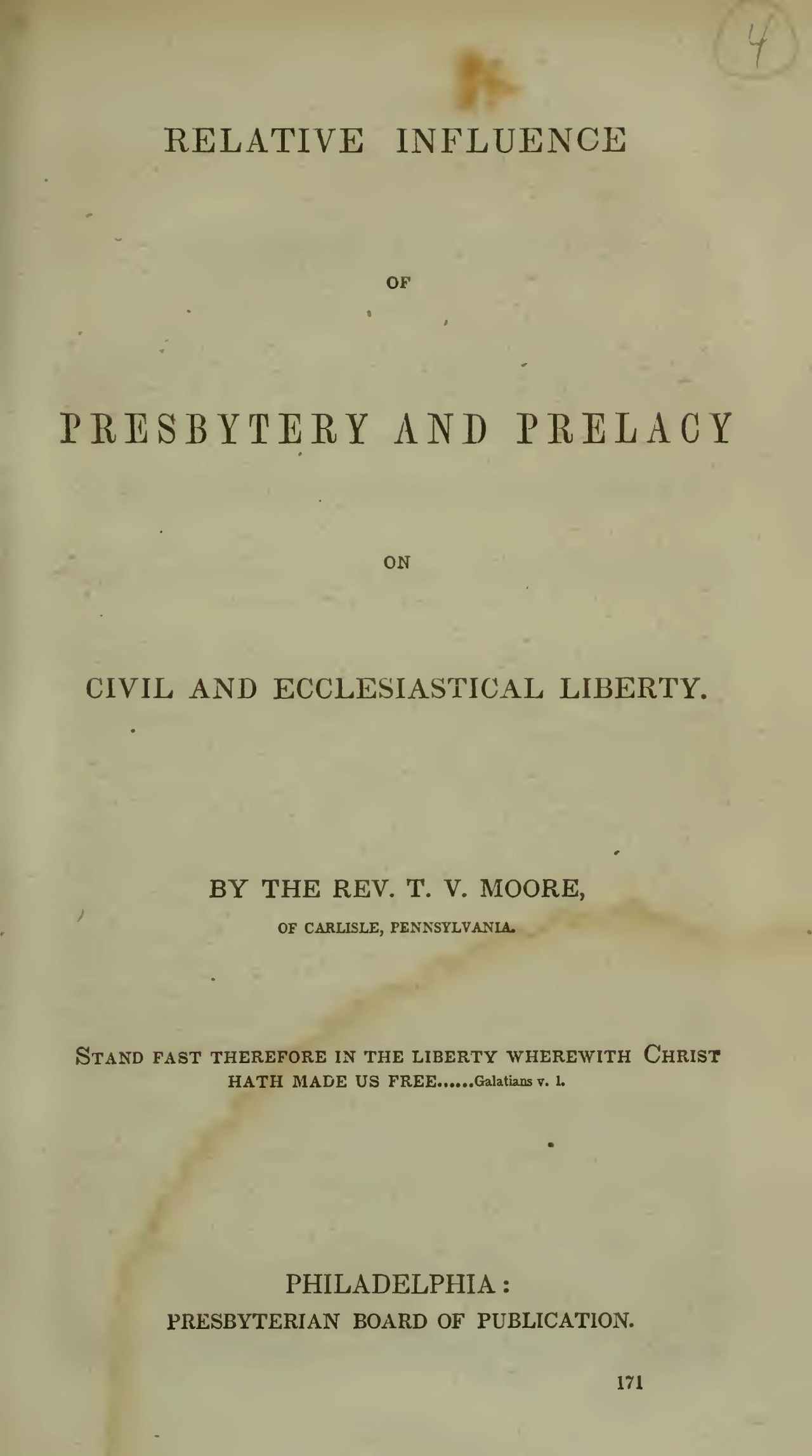 Moore, Thomas Verner, Relative Influence of Presbytery and Prelacy Title Page.jpg