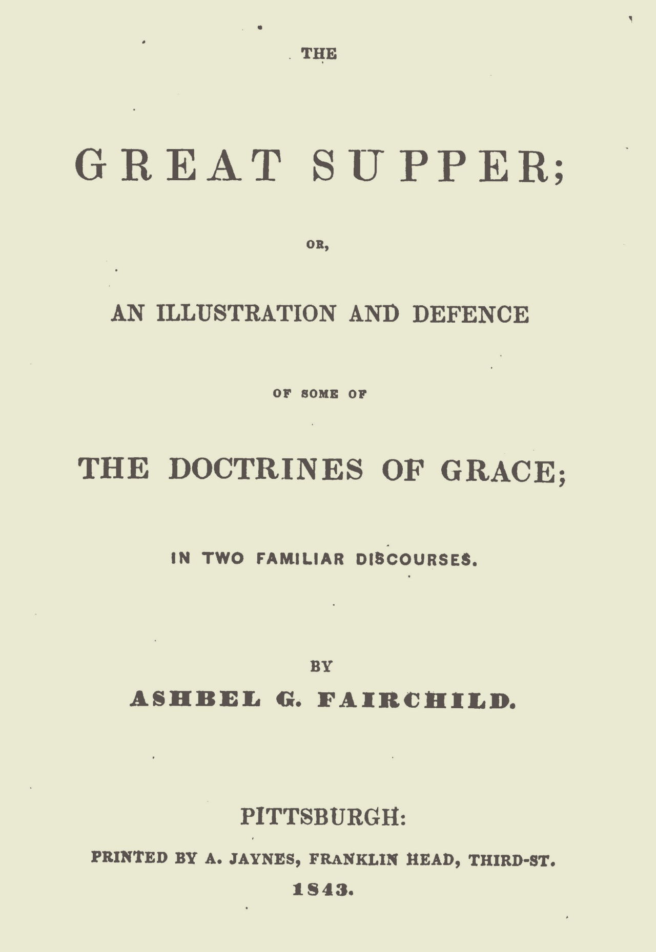 Fairchild, Ashbel Green, The Great Supper Title Page.jpg