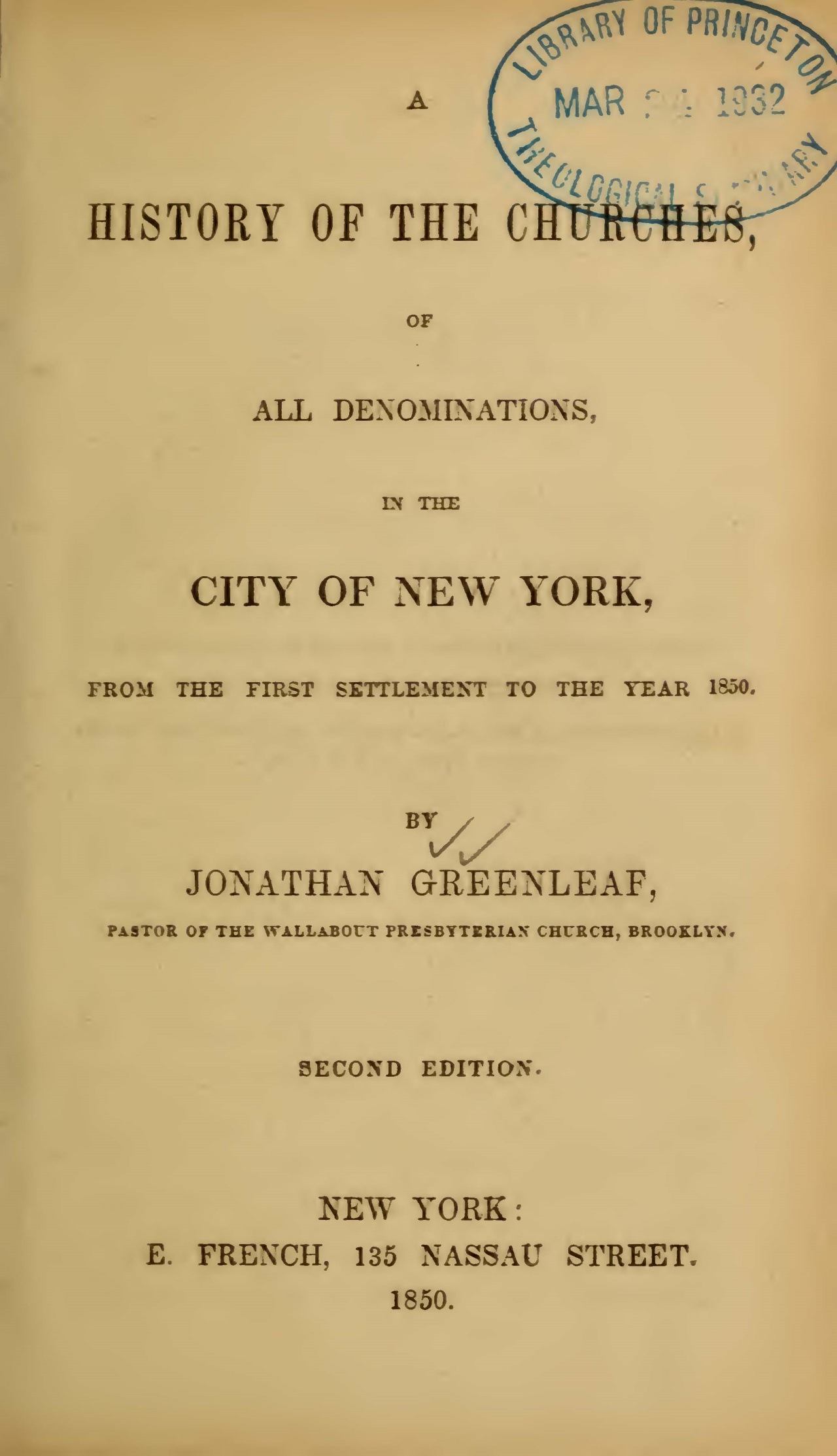 Greenleaf, Jonathan, A History of the Churches Title Page.jpg