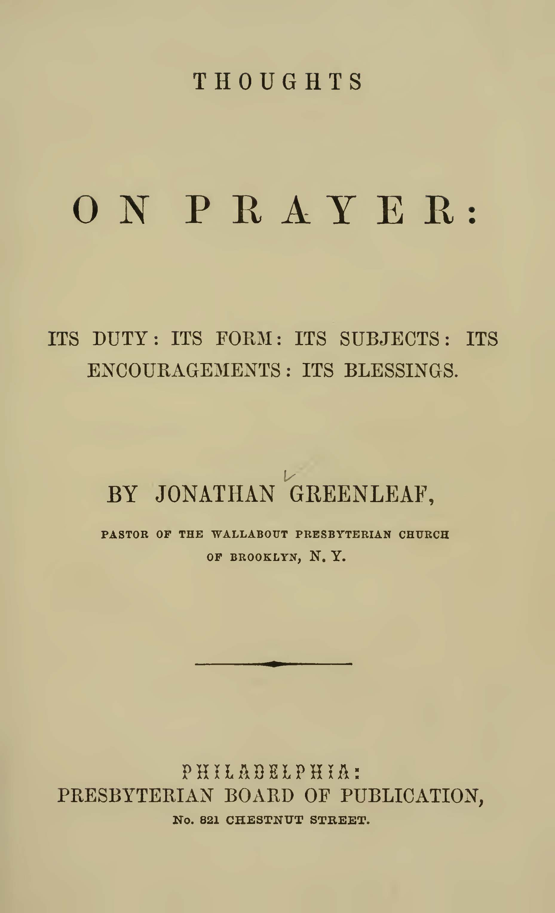 Greenleaf, Jonathan, Thoughts on Prayer Title Page.jpg