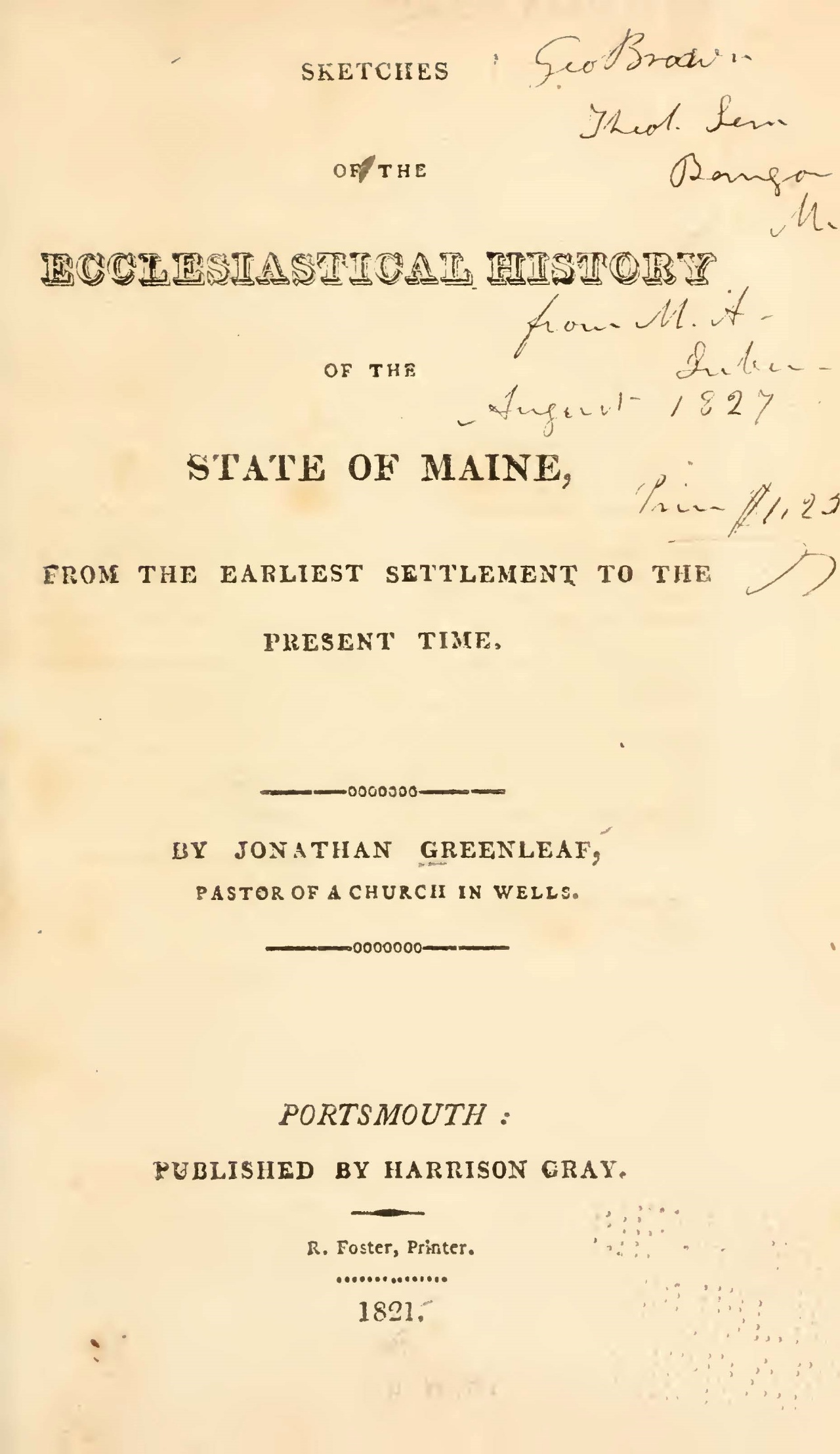 Greenleaf, Jonathan, Sketches of the Ecclesiastical History of the State of Maine Title Page.jpg