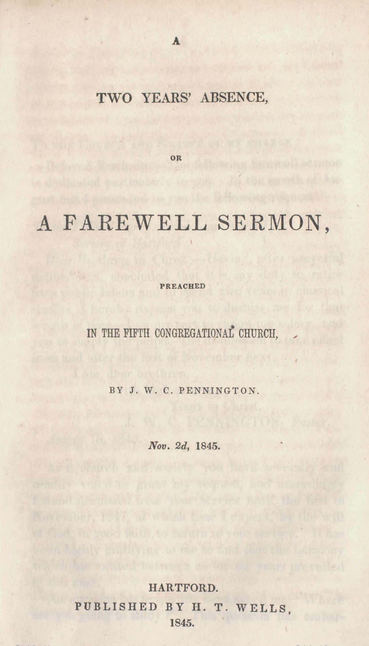 Pennington, James W.C., A Two Years' Absence Title page.jpg
