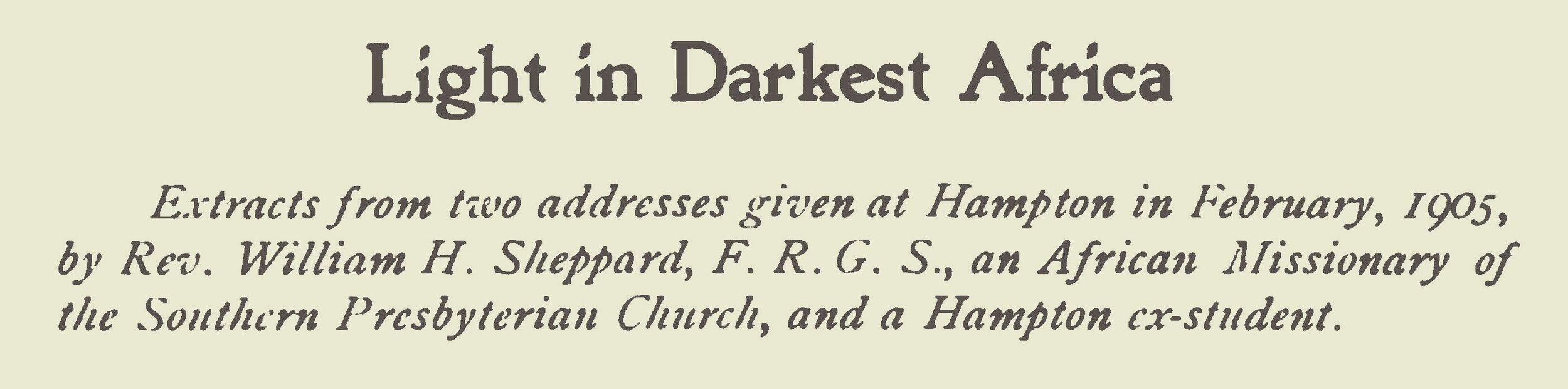 Sheppard, William Henry, Light in Darkest Africa Title Page.jpg