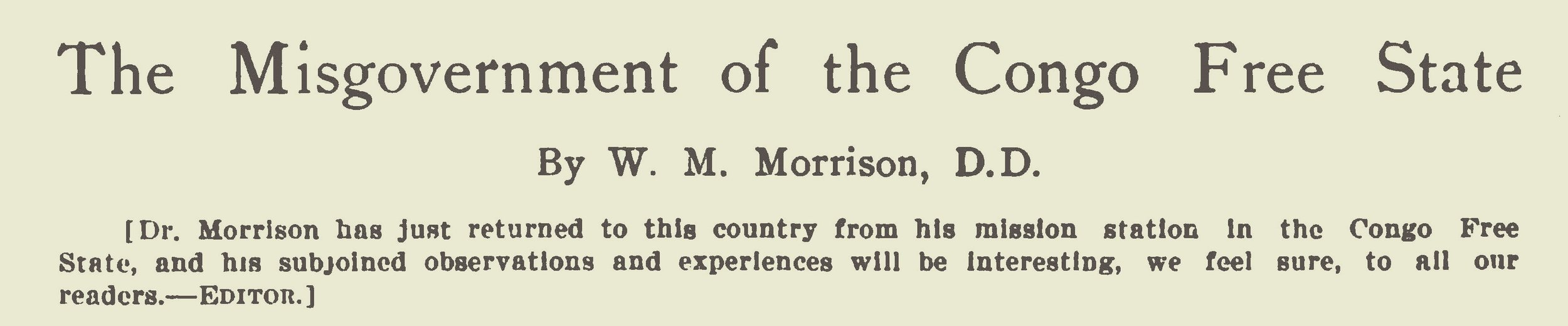 Morrison, William McCutchan, The Misgovernment of the Congo Free State Title Page.jpg
