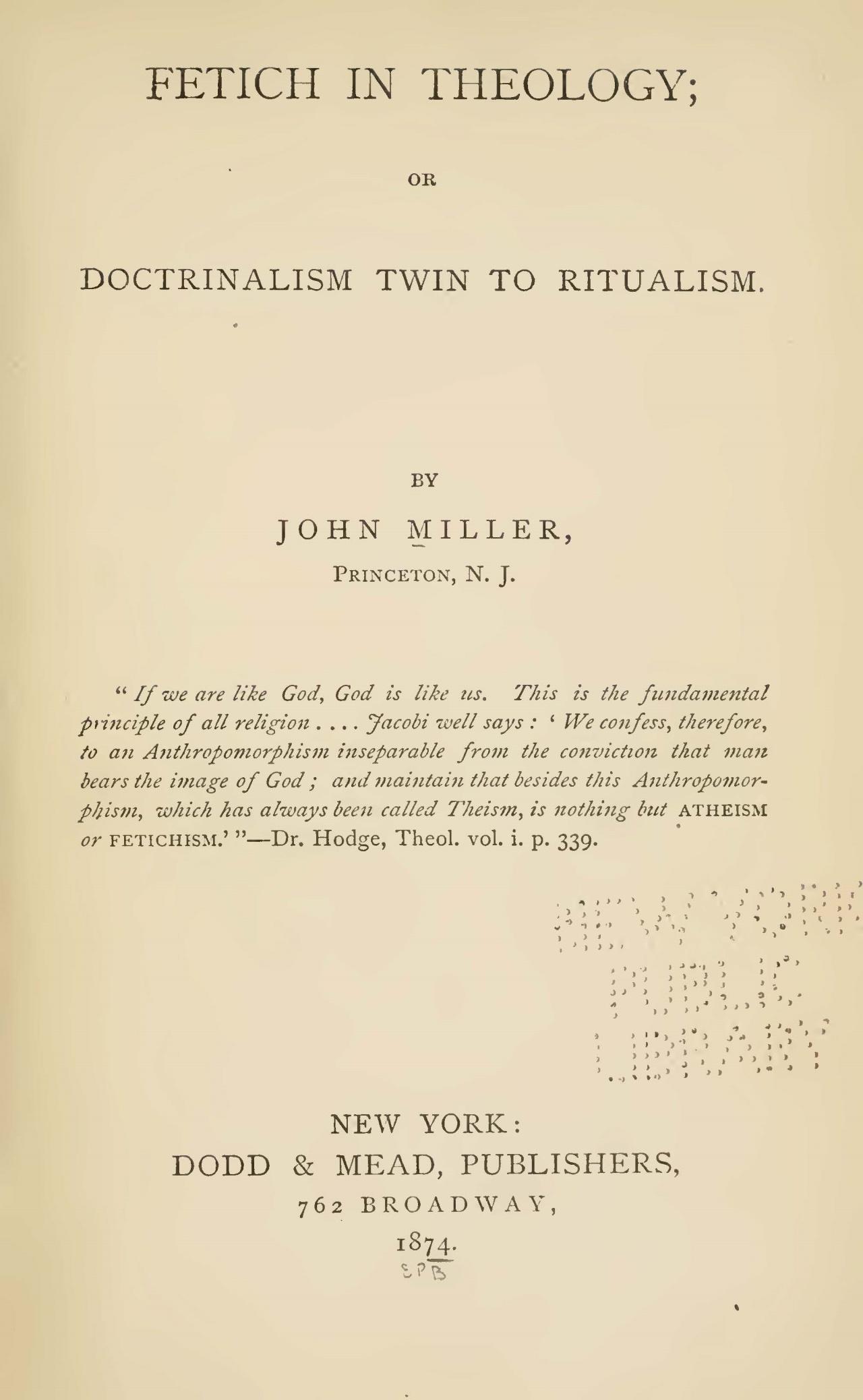 Miller, John, Fetich in Theology Title Page.jpg